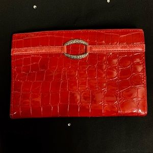 BRIGHTON Croc Red Leather Folio Wallet   Size 5X7